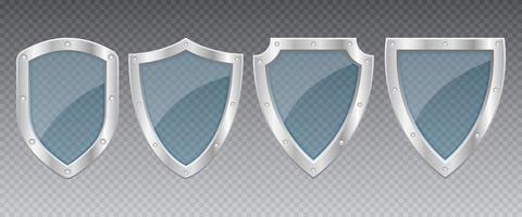 illustration de conception de vecteur de bouclier métallique de protection isolé sur fond