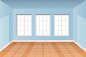intérieur de chambre réaliste avec illustration de conception de vecteur de plancher en bois