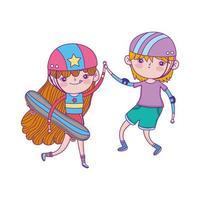 bonne journée des enfants, garçon et fille avec dessin animé de protection de planche à roulettes et casques vecteur