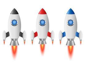 illustration de conception de vecteur de fusée vaisseau spatial isolé sur fond blanc
