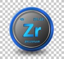 élément chimique de zirconium. symbole chimique avec numéro atomique et masse atomique.