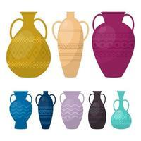 vase set vector illustration de conception isolé sur fond blanc