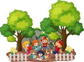 enfants dans la scène extérieure de jardin sur fond blanc