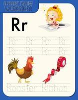 Feuille de calcul de traçage alphabet avec lettre r et r