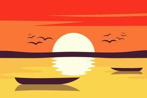 illustration de conception de vecteur de fond paysage coucher de soleil. paysage nature