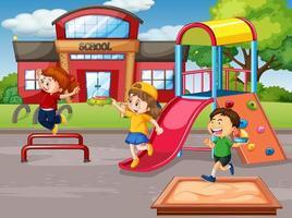 scène avec de nombreux enfants dans la cour de récréation vecteur
