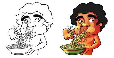 manger la page de coloriage de dessin animé pour les enfants vecteur
