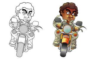 homme monte la page de coloriage de dessin animé de moto vecteur