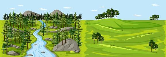 scène de paysage nature forêt et scène de paysage de prairie vierge vecteur