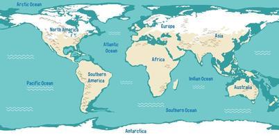 carte du monde avec les noms des continents et des océans vecteur
