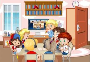 enfants utilisant un ordinateur portable pour communiquer par vidéoconférence avec un enseignant et des amis dans la scène de la salle vecteur