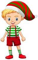 garçon mignon en personnage de dessin animé de costume de noël