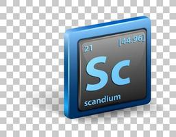 élément chimique scandium. symbole chimique avec numéro atomique et masse atomique. vecteur