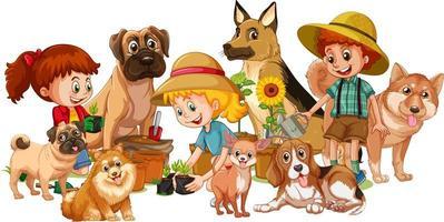 groupe d & # 39; enfants avec leurs chiens vecteur