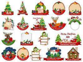 ensemble de modèle de carte de Noël vierge isolé sur fond blanc