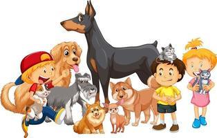 groupe d & # 39; enfants avec leurs chiens