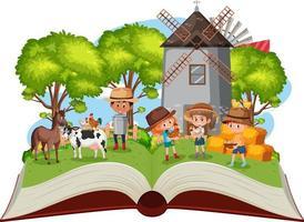 enfants dans la ferme sur fond blanc