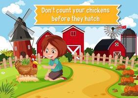 idiome anglais avec description de l'image pour ne pas compter vos poulets avant qu'ils éclosent vecteur