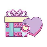 bonne saint valentin, cadeau et boîte en forme de coeur amour romantique