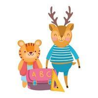 retour à l'école, règle de sac de tigre et de cerf fournitures dessin animé