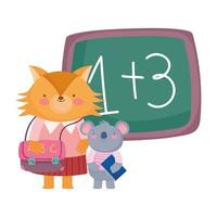 retour à l & # 39; école, renard et koala avec tableau noir