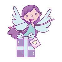 bonne saint valentin, cupidon avec amour boîte cadeau flèche