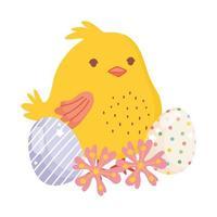joyeuses pâques poulet mignon oeufs décoratifs fleurs nature