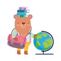 retour à l'école, ours livres globe carte sac à dos dessin animé