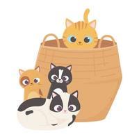 les chats me rendent heureux, le chat dans le panier et les chatons assis dessin animé