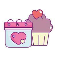 bonne Saint Valentin, calendrier et nuage de coeurs cupcake sucré