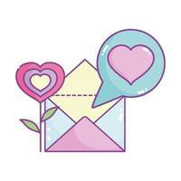 bonne saint valentin, message de lettre de courrier de coeur en forme de fleur