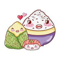 Sushi de riz kawaii et nourriture emballée dessin animé japonais, sushi et rouleaux