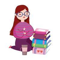 jeune femme à genoux avec des livres et une tasse de café, jour du livre