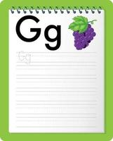 feuille de calcul de traçage alphabet avec les lettres g et g
