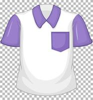 chemise blanche vierge à manches courtes violette et poche sur transparent vecteur