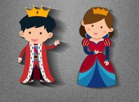 petit personnage de dessin animé roi et reine sur fond gris vecteur