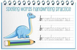 Orthographe des mots feuille de travail de l'écriture manuscrite des dinosaures