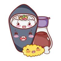 kawaii saké poisson viande nourriture dessin animé japonais, sushi et rouleaux
