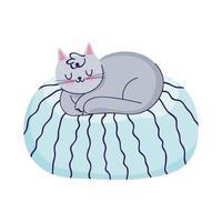 chat, dormir, sur, coussin, dessin animé, isolé, icône