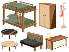 Objets de meubles de chambre isolés sur fond blanc