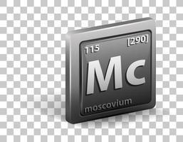 élément chimique de Moscou. symbole chimique avec numéro atomique et masse atomique.