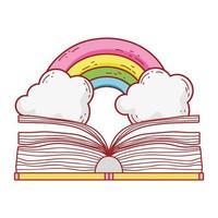 livre ouvert arc en ciel littérature fantastique dessin animé isolé