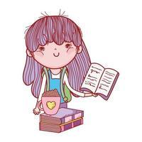 petite fille tenant un livre et une tasse de chocolat sur des livres