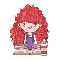 jolie fille aux cheveux roux avec smoothie et dessin animé de livre vecteur