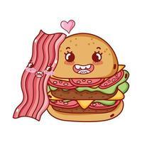 Fast-Food mignon double burger et dessin animé de bacon vecteur