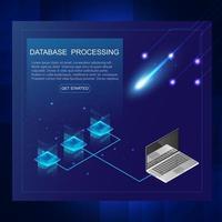 isométrique du concept de serveur et de traitement de données, centre de données et bannière de base de données