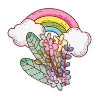arc-en-ciel fleurs feuillage nuages nature dessin animé icône isolé design