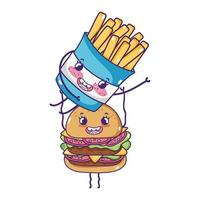 Fast-Food mignon burger transportant des frites cartoon