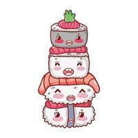 kawaii empilé sushi nourriture dessin animé japonais, sushi et rouleaux