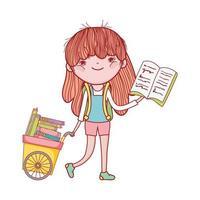 Chariot de main jolie fille avec des livres design isolé de dessin animé